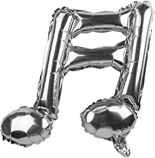 HappyMomentsClub Music Notes Balloons (Sixteenth Note Silver Color) 6pcs