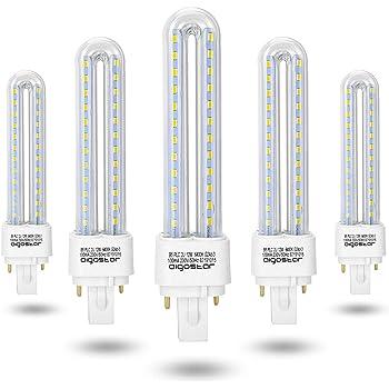 Aigostar- Pack de 5 Bombilla PLC 2U, tubo de12 W, Maiz G24, Luz fría 6400K: Amazon.es: Iluminación