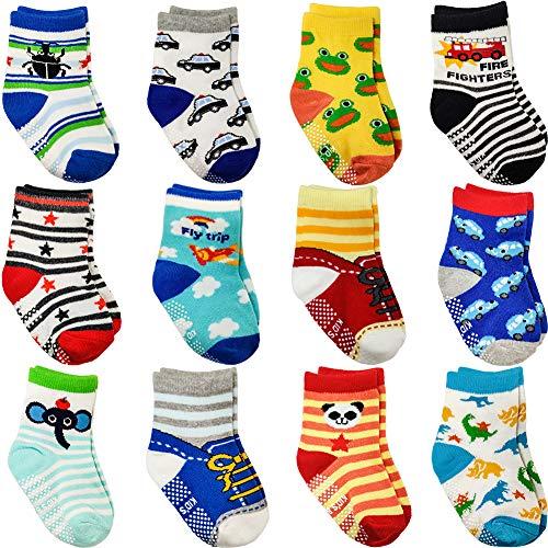 SaponinTree 12 Pares de Calcetines Antideslizantes para Niños, Calcetines de Bebés con Diseño Antideslizante, Algodón Lindo con Puños para Bebé Niños 1-3 Años