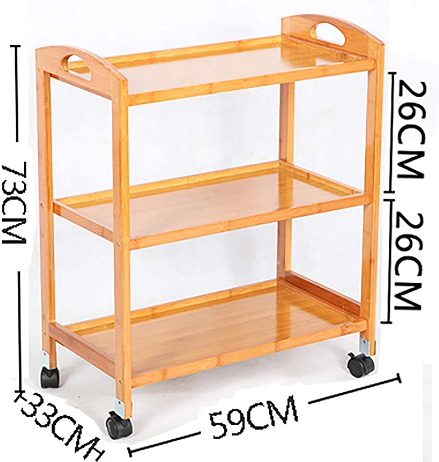 PLLP Hospital Trolley, Medical Supplies Rack-Medical Cart Tool 3 Tier Hotel Catering Cart with Brake Wheel, Beauty Salon Gallery Rolling Trolley, Wooden Medical Equipment Tool Storage Cart,Wood color