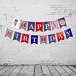 FishMM Happy Birthday Hanging Bunting Banners, Theme Party Decorations Signs, Red White Blue Flags for Baby