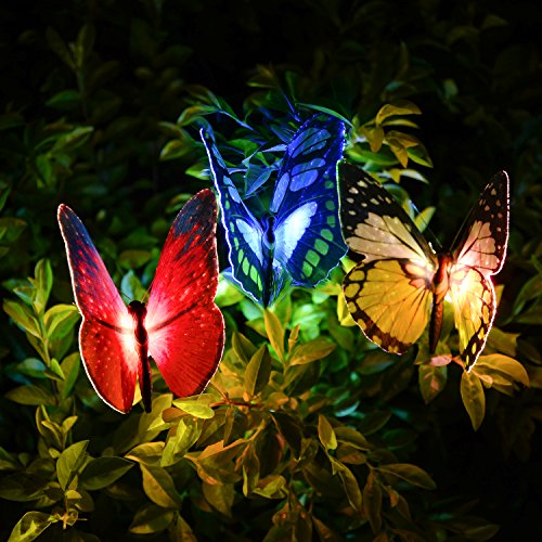 Solar Garden Lights,Solar Lights Outdoor Decorative, Qualife 3 Pack Butterfly Garden,Solar Butterfly Lights,Best Garden Decor,Solar Decorative Lights for Housewarming,Yard Art,Patio Decor.