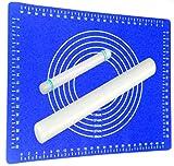 Ausrollstab 50 + 22cm mit Backmatte Silikon Blau | Antihaft - Hitzebeständig | Teigroller mit Teigmatte 60x40cm Set