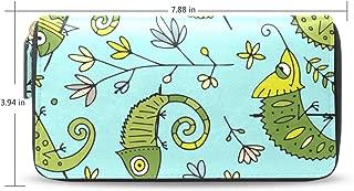 Women Wallet Purse Clutch Bag Cute Chameleon Animal Seamless Pattern Zipper Leather