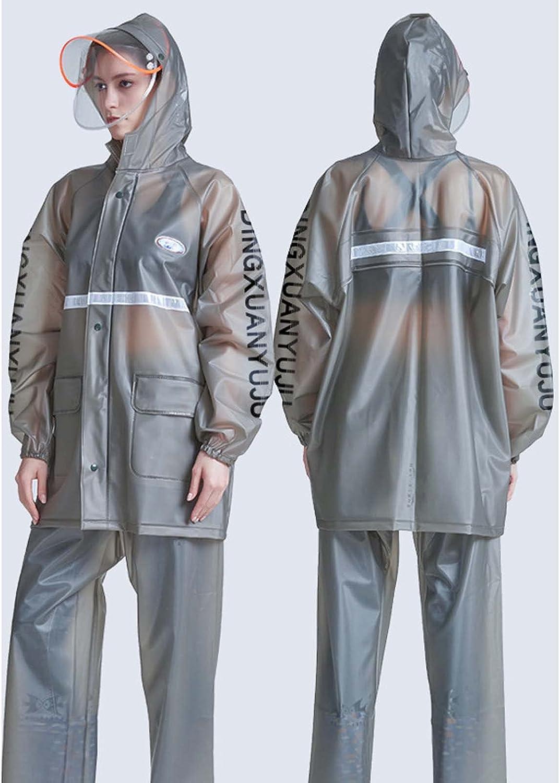 FHGH 2PCS Adult Split Raincoat, PVC Reflective Raincoat and Rain Pants Suit, Detachable Brim Design, for Fishing/Cycling,J,XLarge