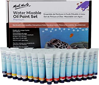 Mont Marte Premium H2O Water Mixable Oil Paint Set, 36 Piece, 18ml Tubes. Mixable with a Range of Mediums. Easily Washes Up with Water.