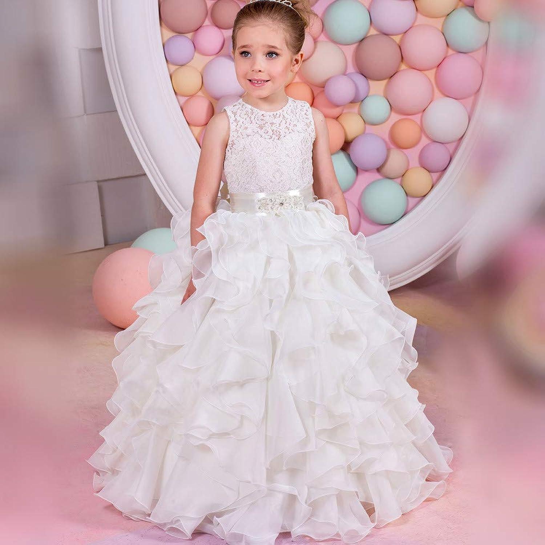 女の子のパーティードレス 子供用ケーキ、ふわふわウェディングドレス、フラワーガール、ステージパフォーマンス、ウェディングドレス フォーマルなパーティーの誕生日の卒業プロムのダンスのボールのドレスドレス (サイズ : 12-13T)