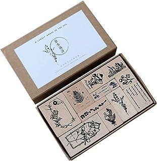 Doraking 12PCS Vintage Decorative Wooden Rubber DIY Scrapbook Stamps Seals Set for Diary Planner Scrapbook Decoration (Veg...