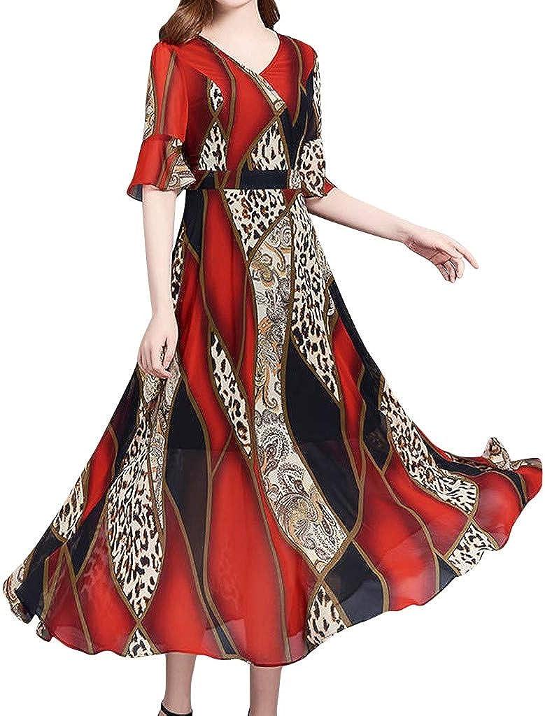 UOFOCO Maxi Dresses for Women Fashion Summer V-Neck Knee Length Short Sleeve Leopard Print Dress
