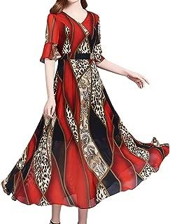 Auimank Women Fashion Summer Grace Mid-Calf Short Sleeve Beach Printing Dress