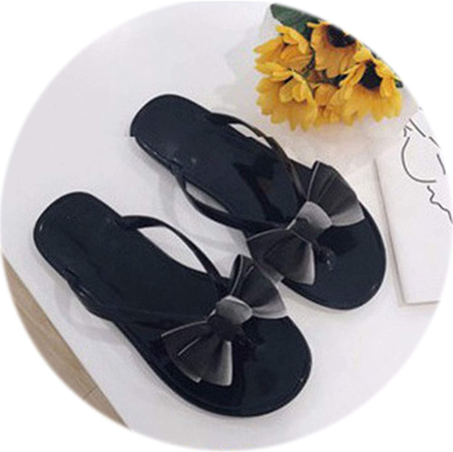 Rather be Summer Fashion Women shoes Flat with Flip Flops Bow Tie Flip Flops Outdoor Jelly Sandal Beach Female Flat Slipper