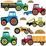 GET STICKING DECOR Tractores & Cavador Pegatinas De Pared/ Calcomanías Colección, ToonTractors Trac.4, Vinilo Removible Brillante, Multi Color. (Medium)