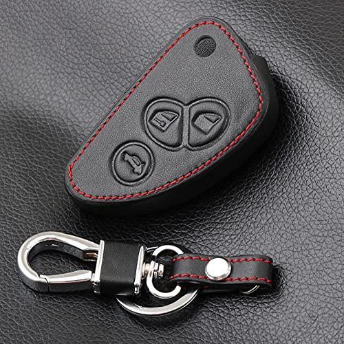 USNASLM Funda de piel auténtica para llave de coche, para Alfa Romeo Remote Car Key Jacket Wallet Bag Car-stying, Funda de cuero para llave de coche, funda de cuero para llave de hombre, funda de piel
