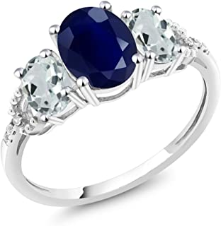 10K White Gold Diamond Accent 3-Stone Engagement Ring set with 2.70 Ct Oval Blue Sapphire Sky Blue Aquamarine (Available 5,6,7,8,9)