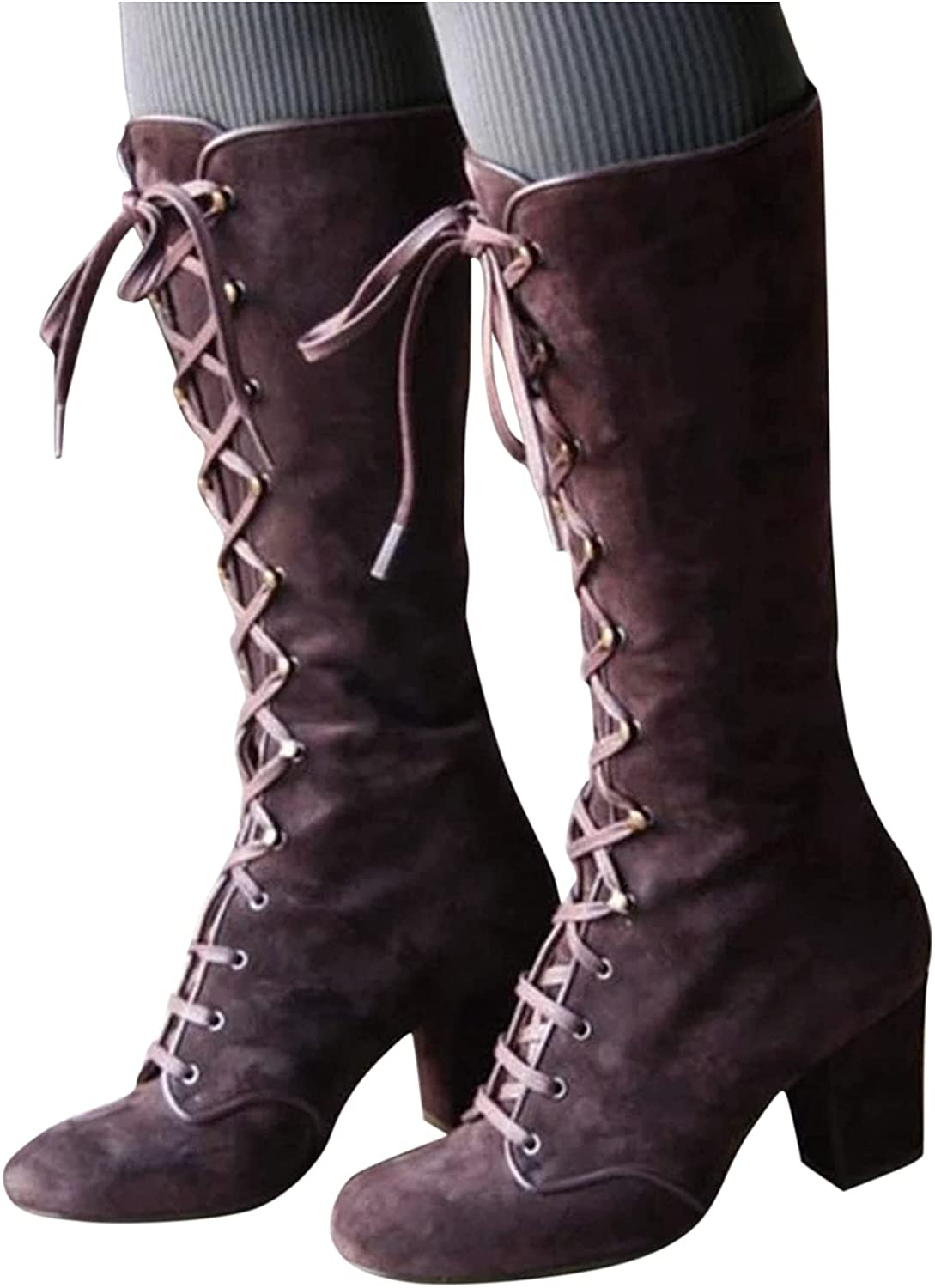 Boots for Women Low Heel Fashion Dressy Long Tube Combat Boots Vintage Lace Up Platform Boots