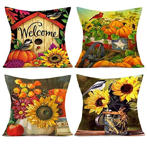 Smilyard Retro Fall Throw Pillow Covers Autumn Pumpkin with Sunflower Flower Decorative Pillow Case Cotton Linen Animal Cardinal Bird Rustic Farmhouse Pillow Cover 18x18 Inch Set of 4 (Fall-Pumpkin)