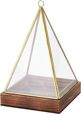 東京堂 ガラス花器 黄/金 縦横 約14.5×高さ 約23.5cm アンティークガラス&ウッドS GG003160