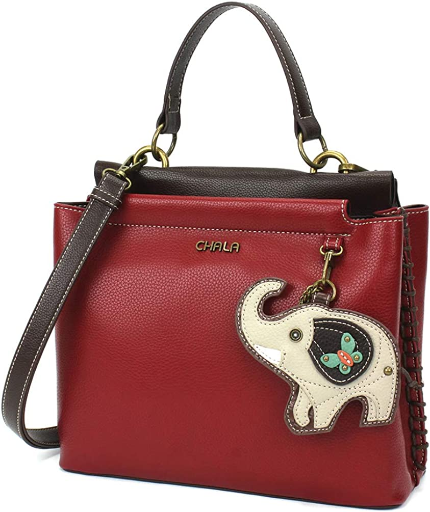 CHALA Popular products Charming Satchel 2021 model with Adjustable Burgundy - Strap