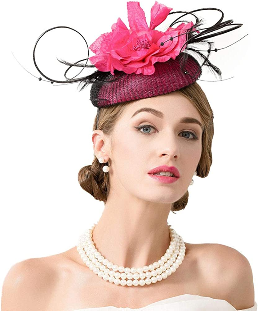 F FADVES Pillbox Fascinator for Women Cocktail Tea Party Wedding Feather Rose Floral Headband