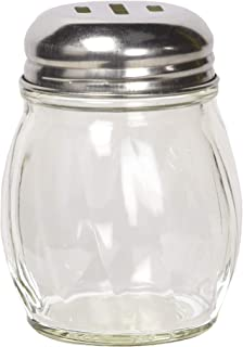 Winco Cheese Shakers with Slotted Tops, 6-Ounce,Clear, Stainless Steel,Medium
