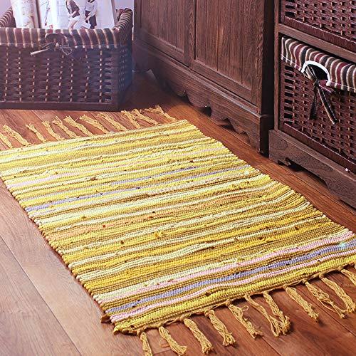 Teppiche für Wohnzimmer Sofa Bereich Dekoration Mediterranen Stil Streifen Muster Quaste Dekoration Mode Design 100% Baumwolle Multi Verwendung(Gelb,50x80cm)