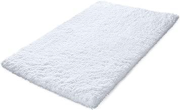 KMAT 32x47 Inch Large Luxury White Bath Mat Soft Shaggy Bathroom Rugs Non-Slip Rubber Shower Rugs Microfiber Washable Bath Rug for Floor Bathroom Bedroom Living Room