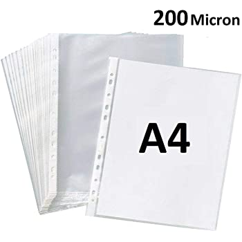 True-Ally Heavy Duty 50 Pcs 200 Micron Transparent Document Sleeves, Leaf Sheet Clear Certificates/Waterproof Sheet Protectors 11 Holes Punched Ring Files Folder (A4 Size) (50 Sheets - 200 Micron)