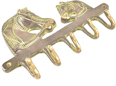 Indian Shelf VZK430 Hanger Statue with Two Horse Heads