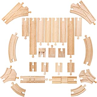 Bigjigs Rail Low Level Track Expansion - 25 Piece Set - Other Major Wooden Rail Brands are Compatible