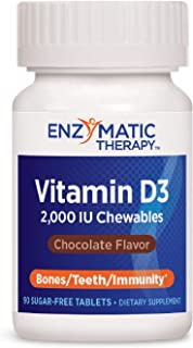 Enzymatic Therapy Vitamin D3 2000 IU Chewables Chocolate Flavor, 90 Sugar-Free Count