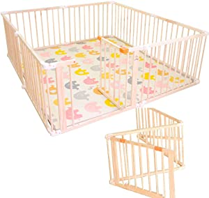 Wooden Baby Playpen Safety Activity Centre Safety Play Yard Home Indoor Outdoor Kids Play Center Yard 270  Foldable Incl
