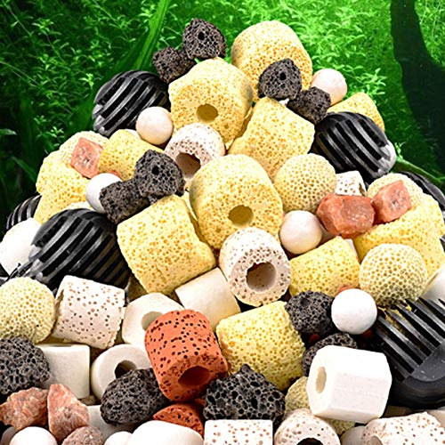 Easy-topbuy Aquarium Filtermaterial Scientific Ratio Aquarium Filter Material Bacterial Filter Material Ceramic Loop Biochemical Ball Activated Carbon Aquarium 12-In-1 Purified Water Filter Material