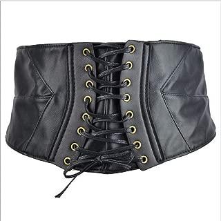 LUKEEXIN Women Extra Wide Belt European and American Decorative Belt for Skirt Shirt, Dress Black Pine Tight Belt Waist Accessories (Color : Black)