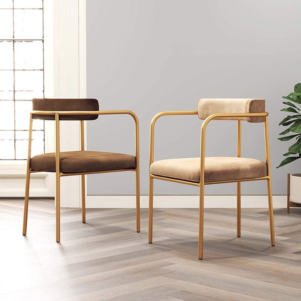 HXF- Chaise de Salle, Chaise de Bureau Simple, créative Dossier, Chaise Loisirs, Maison Adulte Chaise de Salle Durable (Color : Dark Brown) Khaki