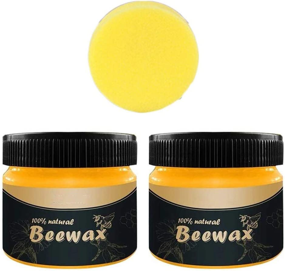 Evangelia.YM Chicago Mall Natural Beeswax 2Pcs Daily bargain sale with Wood Polish Sponge Clean