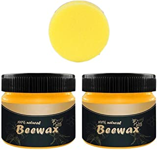 MiaoC Natural Beeswax Wood Polish Non-Toxic Beewax for Nourishing, Renewing, Sealing, Covering Scratches, Protecting Wooden Furniture 20g/85g/100g/200g Wood Wax Cream (M-Yellow+Sponge, 285g)