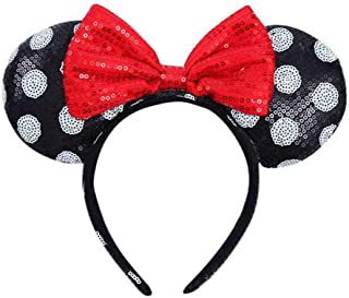 WLFY Mickey Mouse Minnie Mouse Sequin Ears Headbands Butterfly Glitter Hairband Girls Party Supplies (White dot black red bow)