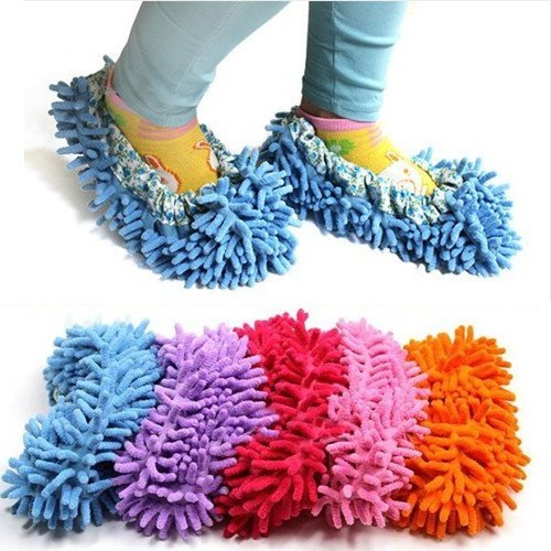Cute Dust Mop Slippers Shoes Floor Cleaner Clean Easy Bathroom Office Kitchen(Orange) by ChineOn