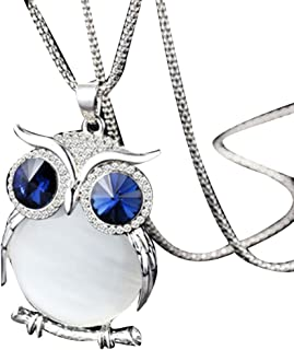 Deals Owl Pendant Necklace Women Vintage Glass Cabochon Necklace Jewelry by ZYooh