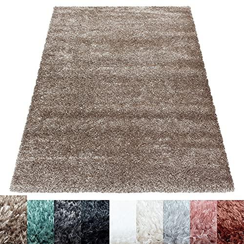 Carpettex Teppich Shaggy Tapis Salon Formes différentes Fil Brillant Monochrome, Couleur:Taupe, Dimension:120x170 cm