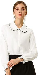 Allegra K Women's Fall Peter Pan Collar Sweet Blouse Long Sleeves Button Up Ruffled Shirt