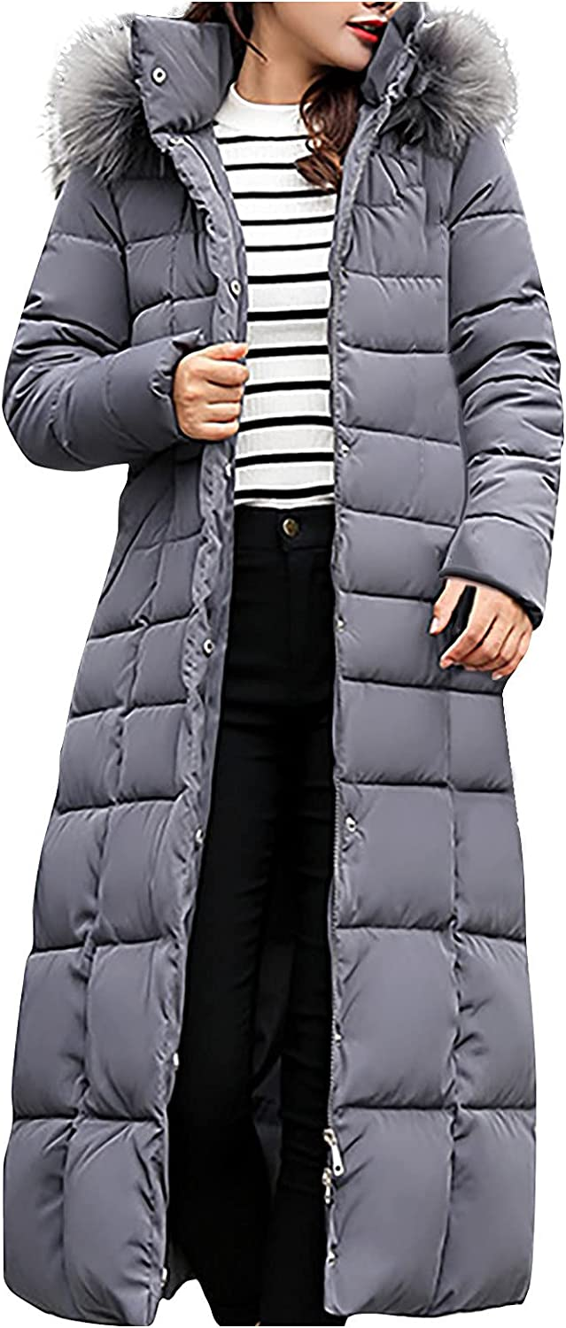 YQRDSHJS Stylish Women's Winter Puffer Down Jacket Long Over-knee Down Padded Jacket With Large Fur Collar Slim Padded Jacket