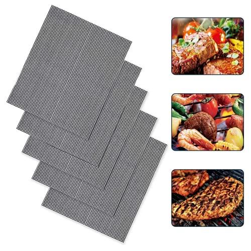 5 alfombrillas para barbacoa, antiadherentes, reutilizables, de malla, resistentes al calor y fáciles de limpiar, 33 x 40 cm