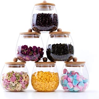 RORA 6 Piece Round Clear Glass Food Storage Jars with Airtight Bamboo Lids Kitchen Decorative Canister Set For Coffee, Flo...
