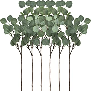 Supla 6 Pcs Artificial Silver Dollar Eucalyptus Leaf Spray in Green 25.5