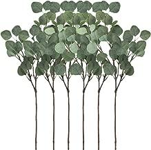 Supla 6 Pcs Artificial Silver Dollar Eucalyptus Leaf Spray in Green 25.5