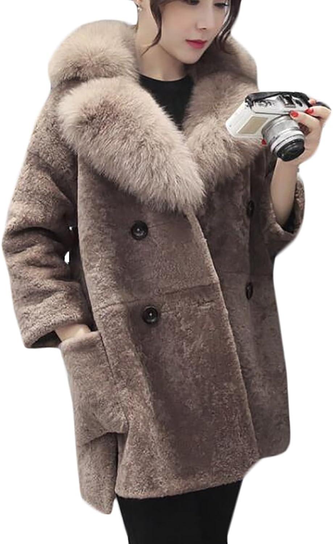 YUELANDEWomen Faux Fox Fur Collar Long Shearling Coat Warm Jacket Outwear
