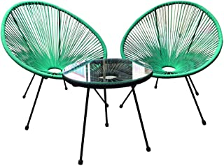 Acapulco Patio Chair All-Weather Weave Lounge Chair Patio Sun Oval Chair Available for Indoor Outdoor (1pc Blue Chair with 1 Black Table)