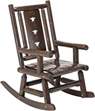 Wood Outdoor Rocking Chair Rustic Porch Rocker Heavy Duty Big Log Accent Chair Wooden Patio XL Lawn Chairs Oversize Furniture for Adult