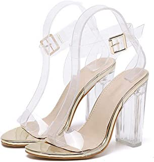 2019 New PVC Women Sandals Sexy Clear Transparent Ankle Strap High Heels